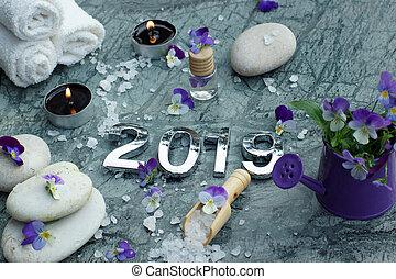 エステ, 装飾, セット, 石, タオル, 蝋燭, 浴室, パンジー, 2019, マッサージは 油をさす, 肩甲骨, 白い花, 塩