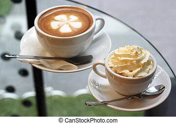 エスプレッソのコップ, 2, latte, コーヒー