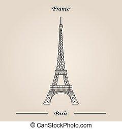 エッフェル, イラスト, paris., france., ベクトル, タワー