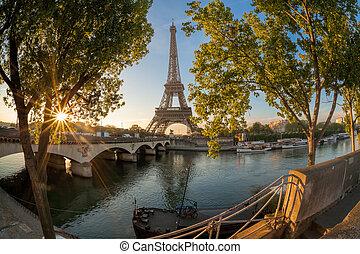 エッフェル, パリ, フランス, の間, タワー, 日の出