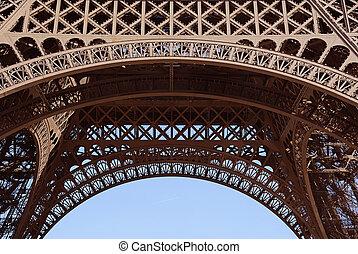 エッフェル, パリ, フレームワーク, france., クローズアップ, タワー