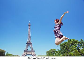 エッフェル, 若い, に対して, パリ, 跳躍, 魅力的, タワー, フランス