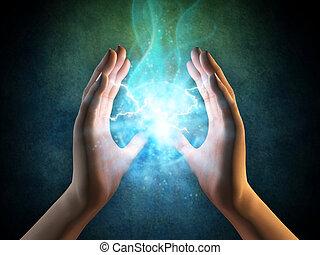 エネルギー, から, 手
