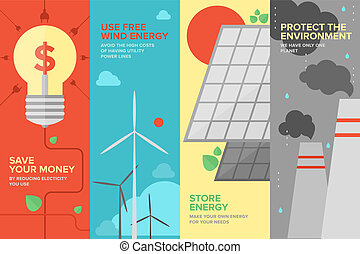 エネルギー, そして, 力, 節約, 平ら, 旗, セット
