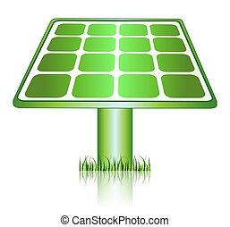 エネルギー, アイコン, 太陽, 緑, パネル