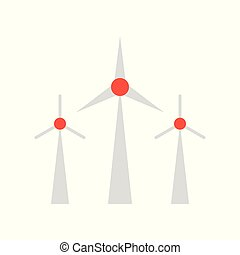 エネルギー, アイコン, 資源, 風車, 緑, デザイン, 平ら