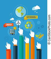 エネルギー, イラスト, 行きなさい, 緑, 支持できる, concpet