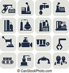 エネルギー, セット, 産業, アイコン