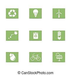 エネルギー, セット, 緑, アイコン