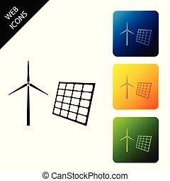 エネルギー, セット, 風, パネル, 電気, アイコン, バックグラウンド。, 太陽, タービン, 選択肢, 回復可能, カラフルである, 概念, buttons., 製粉所, 発生, 広場, energy., ベクトル, 白, アイコン, イラスト, 隔離された