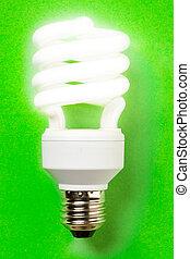 エネルギー, セービング, 電球, 上に, ∥, 緑の背景