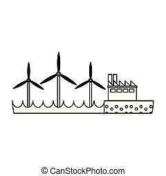 エネルギー, タービン, 緑, 黒, 白, 風