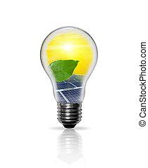 エネルギー, パネル, 緑, 太陽