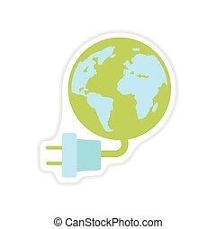エネルギー, ペーパー, 背景, 地球, 白, ステッカー