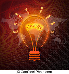 エネルギー, 源, 中に, 電球