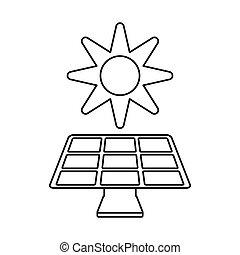 エネルギー, 環境, 薄くなりなさい, 太陽, 線, シンボル, パネル