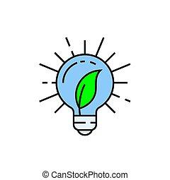 エネルギー, 緑, 線, アイコン