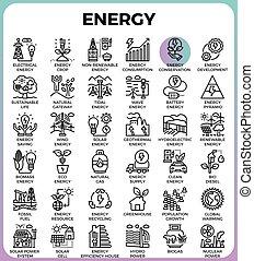 エネルギー, 線, アイコン