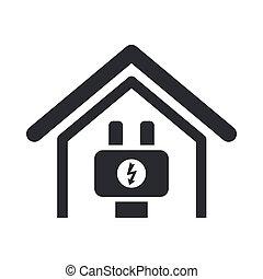 エネルギー, 隔離された, イラスト, 単一, ベクトル, 家, アイコン