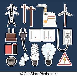 エネルギー, 電気, 力, アイコン