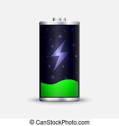 エネルギー, charge., フルである, 電池