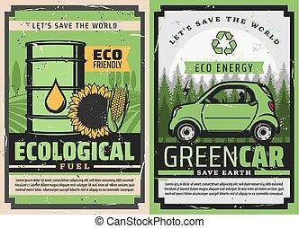 エネルギー, fuel., 緑, 電気である, エコロジー, eco, 自動車