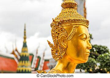 エメラルド, 金寺院, タイ, バンコク, ワット, 仏, 像, kaew, phra, kinnari