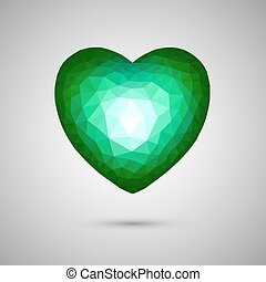 エメラルド, polygonal, 水晶, 心