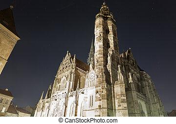 エリザベス, st. 。, slovakia., kosice, 夜, 大聖堂