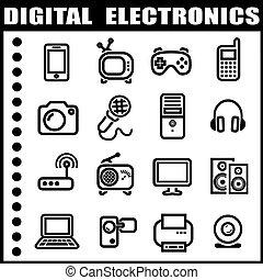 エレクトロニクス, セット, デジタル, アイコン