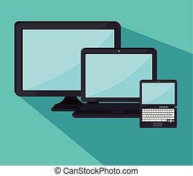 エレクトロニクス, セット, 装置, アイコン