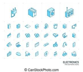 エレクトロニクス, icons., ベクトル, 線, 3d, 等大, マルチメディア