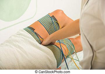 エレクトロ, 患者, 美の 処置, 女性, 受け取ること, threrapy