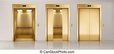 エレベーター, 玄関, 金, オフィス