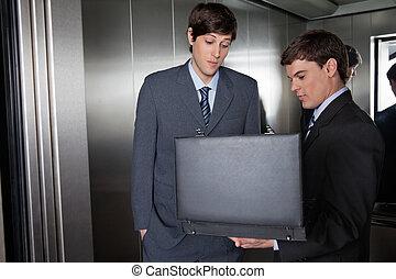 エレベーター, 男性, ブリーフケース, ビジネス
