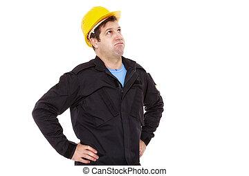 エンジニア, ため息, コンストラクター, の上, 顔つき