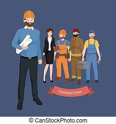 エンジニア, グループ, 人々, 市民, 労働者, 建設, 建築家