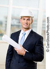 エンジニア, スケッチ, 堅い 帽子, 手