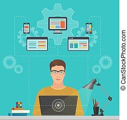 エンジニア, ソフトウェア, 概念, ラップトップ, solutions., 敏感, プログラマー, デベロッパー, optimization, デザイン, 人