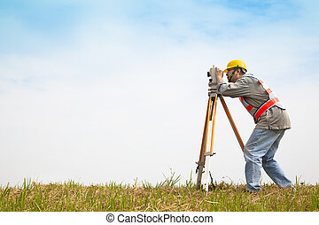 エンジニア, フィールド, 測定, 作成, 測量技師