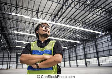 エンジニア, 仕事, そして, 地位, 中に, 新しい, 倉庫, そして, スペース, 区域