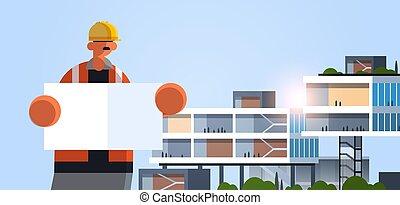 エンジニア, 保有物, 建物, ユニフォーム, 平ら, 労働者, オフィス, 労働者, 建築家, 肖像画, 板, 横, プラカード, 外面, 空, 産業, マレ, 現代, 建築者, 青写真, 概念