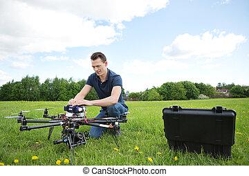 エンジニア, 固定, 無人機, 公園, uav