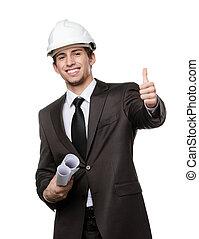 エンジニア, 堅い 帽子, の上, 親指