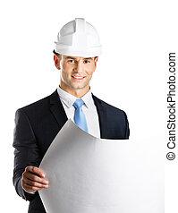 エンジニア, 帽子, 懸命に, 草案, 手