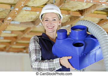 エンジニア, 建築現場, 女性, 幸せ