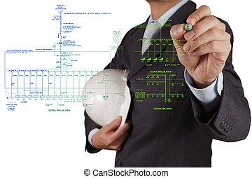 エンジニア, 引く, ∥, 電子, 単一 ライン, そして, 火災警報, 暴徒, 図式的な図表