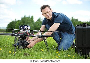 エンジニア, 設定, カメラ, 上に, 写真撮影, 無人機