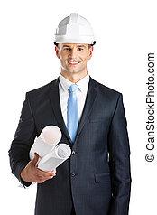 エンジニア, 青写真, 堅い 帽子, 手