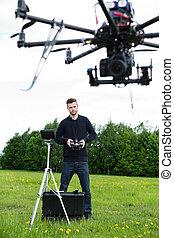 エンジニア, 飛行, 写真撮影, 無人機